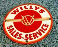 VINTAGE WILLY'S PORCELAIN GAS OIL JEEP OVERLAND SERVICE DEALERSHIP SALES SIGN