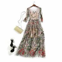 Women Floral Bohemian Flower Embroidered 2 Pieces Vintage Boho Mesh Long Dress