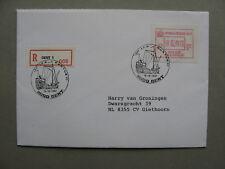 BELGIUM, R-cover to the Netherlands, ATM vendingmachine PORTUS 1987, saiship