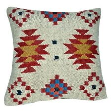 "Indian Handmade Kilim Rug Cushion Cover Vintage Pillow Throw Jute Cover 18x18"""
