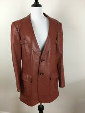 Vintage Lance Limited Mens Leather Blazer Jacket Classic Size 40 Brown