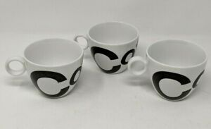 Crate & Barrel Espresso Demitasse Black Letters Spell out Coffee set 3 Cups