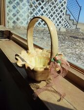 Ceramic Handcrafted Woven Look Basket With Handle