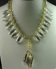 Statement Crystal Necklace Sterling Silver Vermeil with Large Crystal Wedding