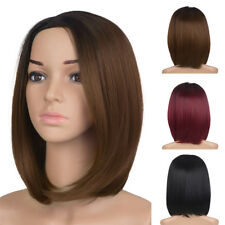 Women Bob Ombre Short Wig Cosplay Synthetic Straight Cap Free Full Wig 16''
