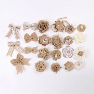Burlap Flower Bow Knot Craft DIY Wedding Supplies Party Curtain Venue Decoration