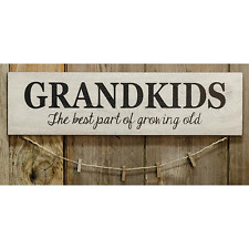 """Country Wood Sign """"Grandkids, The Best Part of Growing Old"""" with clothes pins"""