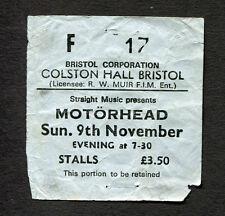 1980 Motorhead concert ticket stub Colton Hall Bristol UK Ace Up Your Sleeve