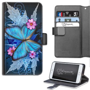 Butterfly Phone Case, Pink Flower PU Leather Flip Phone Cover with TPU Insert