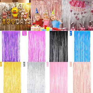 2M Tassel Metal Wire Shimmer Curtain Door Wedding Birthday Party Decoration 2021