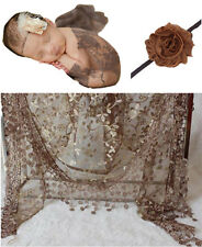 Newborn Baby Coffee Lace Cocoon Swaddle Wrap Blanket + Headband Photography Prop