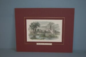 Antique Victorian Hand tinted Wood Cut Engraving of Kirkstall Abbey c1879