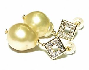 Stunning 12.1 x 13.8mm Natural Gold Baroque Australian South Sea Pearl Earrings