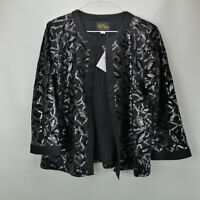 Bob Mackie's 3/4 Sleeve Sequin Knit Jacket with Solid Trim Black S A276556