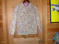 New Women's Appleseed Cotton Quilted Floral Print Reversable Jacket - Sz PM