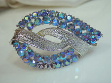 Blue Aurora Rhinestone Brooch Signed Pegasus Core Vintage 1950s X Sparkly  643A4