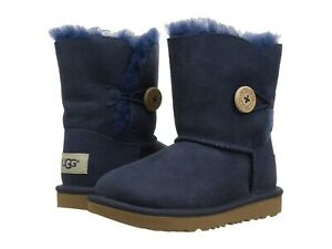 NWOB TODDLER SIZE 8 NAVY UGG BAILEY BUTTON II SUEDE SHEEPSKIN BOOTS 1017400T