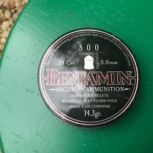 Benjamin 14.3gr.in .20 cal 500 count tin NOS air rifle pellets