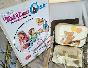 Vintage 1984 GRACO Tot Loc Chair Lock On Table Portable Highchair Teddy NEW
