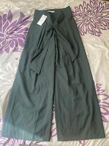 Zara Green Wide Leg Pants With A Tie Size Medium