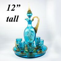 19th c Antique French Liqueur Service Set, Decanter, Tray, 6 Cups with Enamel