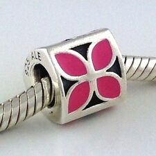 Authentic Pandora 4-Petal Flower Pink Bluet Enamel Bead Charm 790437en05 New