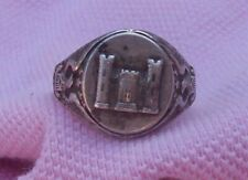 Vintage WWII Sterling Silver Soldier US Army Corps Engineer Sweetheart Ring Sz 6