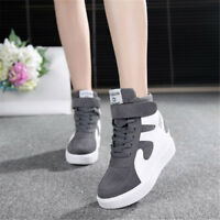 Women's New Casual Lace Up Hidden Wedge High Top Sneakers Athletic Muffin Shoes