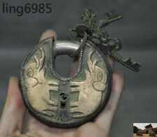 Collect Rare Old Tibet Nepal Pure Bronze Elephant Statue Ancient Lock & Key Set