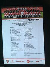 2010/11 Arsenal v West Brom teamsheet