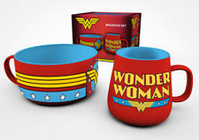 DC Comics Wonder Woman Superhero Batman Breakfast Set Mug Bowl Cereal Coffe