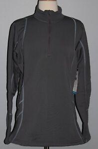 NEW Cabelas Womens Polartec Stretch 1/4 Zip Top Fleece Shirt Size L XL Gray Odor