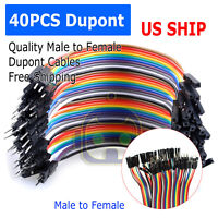 1X 40PCS Dupont Wire Jumper Cables 10cm 2.54MM Male to Female 1P-1P For Arduino