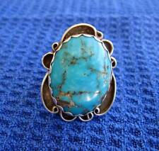 TURQUOISE AND STERLING SILVER RING, size 6 1/2