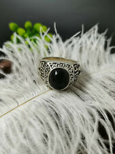 Chinese old Tibet silver Carving  inlaid black color gemstone ring