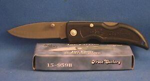 "LOCKBACK KNIFE 3"" CLOSED BLACK RUBBERIZED HANDLE JIM FROST SIGNATURE KNIFE NEW"