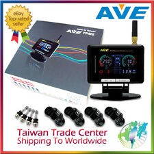 AVE Universal Wireless TPMS Tire Pressure Monitor System 4 Sensors w LCD Display