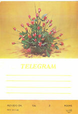 TELEGRAMME POLOGNE  BOUQUET ROSES ANNEE 1980