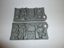 VTG John Wright Cast Iron Christmas Chocolate Candy Molds, Lollipops