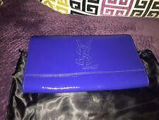 $750 YSL Saint Laurent Belle De Jour Blue Patent Leather Clutch Evening Handbag
