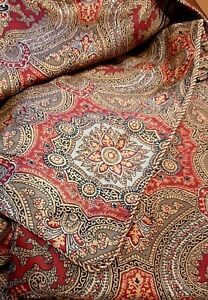 Vintage Duvet Cover - LUXURY Quality - Paisley Pattern -  Red Olive Black QUEEN