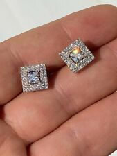 Mens Real Solid 925 Silver Iced CZ Hip Hop Earrings Studs Square Baguette Kite