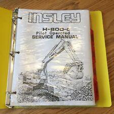 Insley H 560 875 2250 5000 Excavator Hydraulic Test /& Adjustments Service Manual