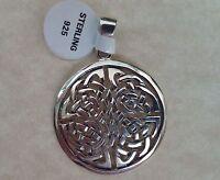 .925 Sterling Silver Round Celtic Knot Pendant Irish