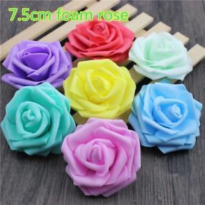 7.5cm Artificial Fake Flowers Foam Rose Head For Wedding Decorations DIY Wreaths