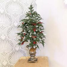 3FT INDOOR TABLE TOP PE ARTIFICIAL POTTED CHRISTMAS BERRY CONE DECORATION TREE
