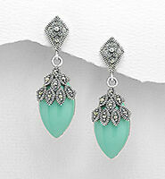 "1.4"" Sterling Silver Marcasite & Green Turquoise Push back Dangle Earrings 7g"
