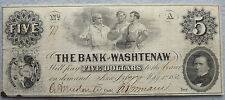 1854 $5 Bank of Washtenaw - Ann Arbor, Michigan Note