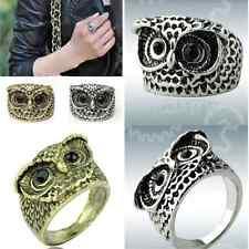 Gold Fashion Vintage Retro Style Owl Shape Ring Black Rhinestone Eyes Jewelry NN