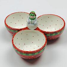 Frosty Friends Snowman Christmas Ceramic Condiment Bowl